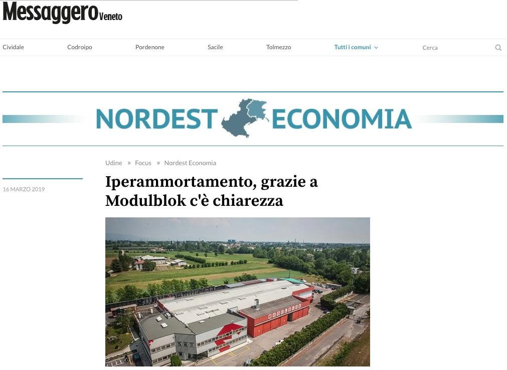 Articolo Modulblok Messaggero Veneto