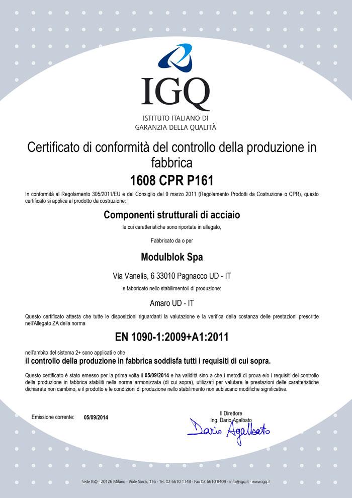 Modulblok Certificato IGQ EN 1090
