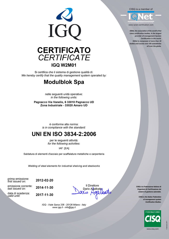 Modulblok Certificato IGQ ISO 3834-2