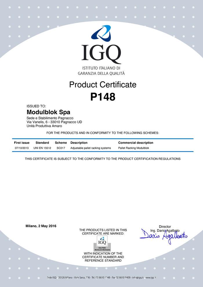 Modulblok Certificate IGQ UNI EN 15512