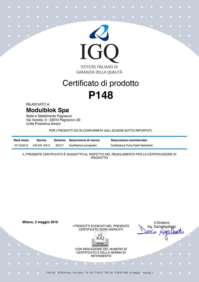 Modulblok Certificato IGQ UNI EN 15512