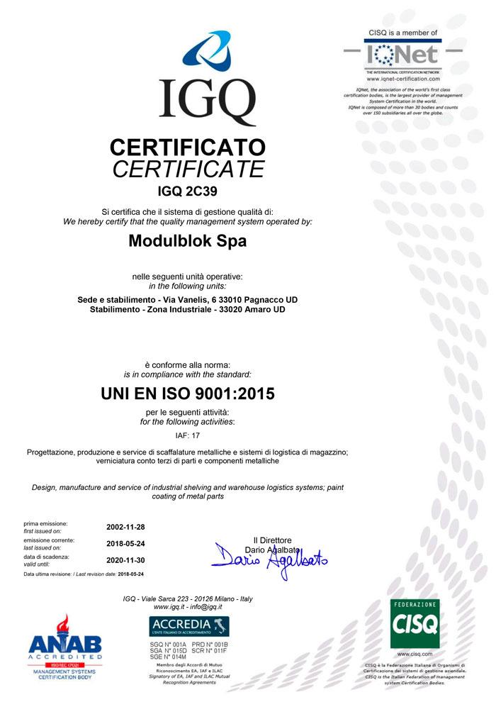 Modulblok Certificato IGQ UNI EN ISO 9001:2015