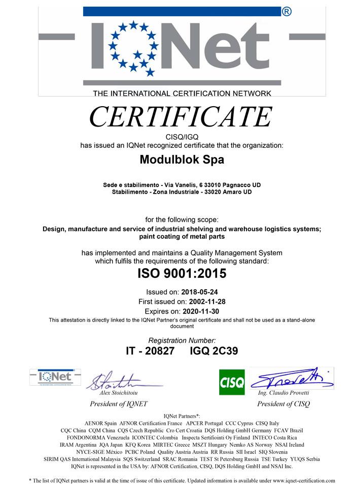 Modulblok Certificate IQNET UNI EN ISO 9001:2015